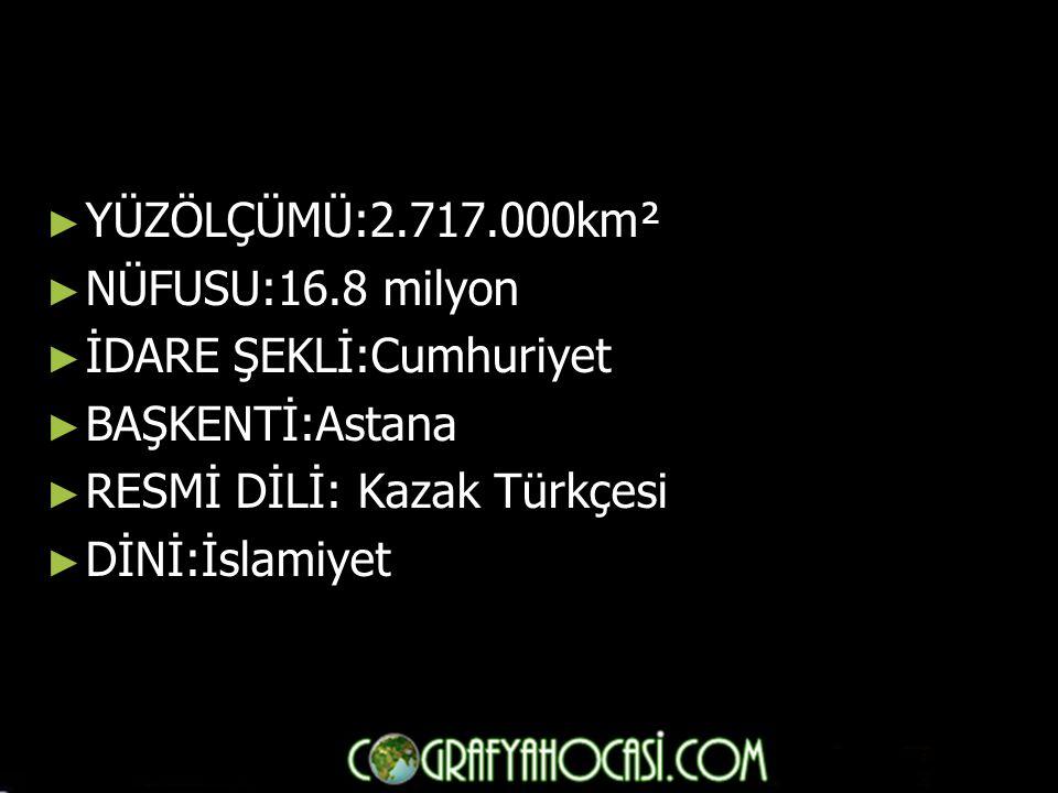 YÜZÖLÇÜMÜ:2.717.000km² NÜFUSU:16.8 milyon. İDARE ŞEKLİ:Cumhuriyet. BAŞKENTİ:Astana. RESMİ DİLİ: Kazak Türkçesi.