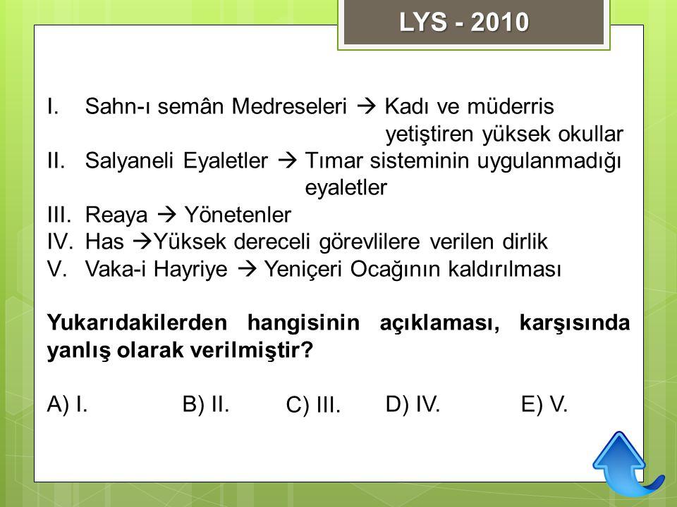 LYS - 2010 Sahn-ı semân Medreseleri  Kadı ve müderris