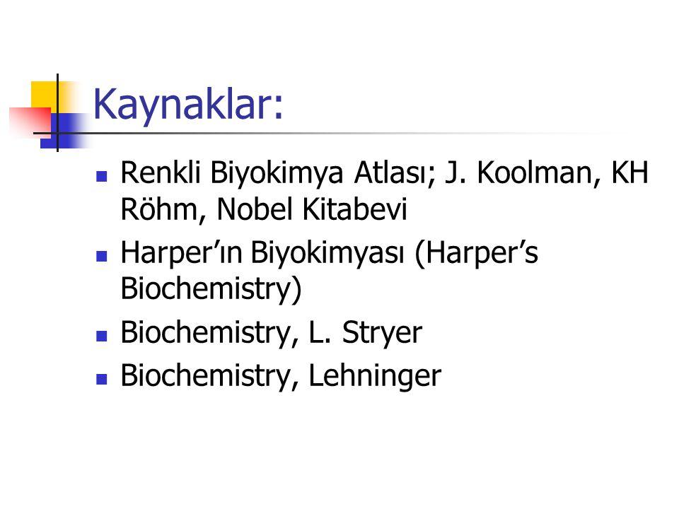 Kaynaklar: Renkli Biyokimya Atlası; J. Koolman, KH Röhm, Nobel Kitabevi. Harper'ın Biyokimyası (Harper's Biochemistry)