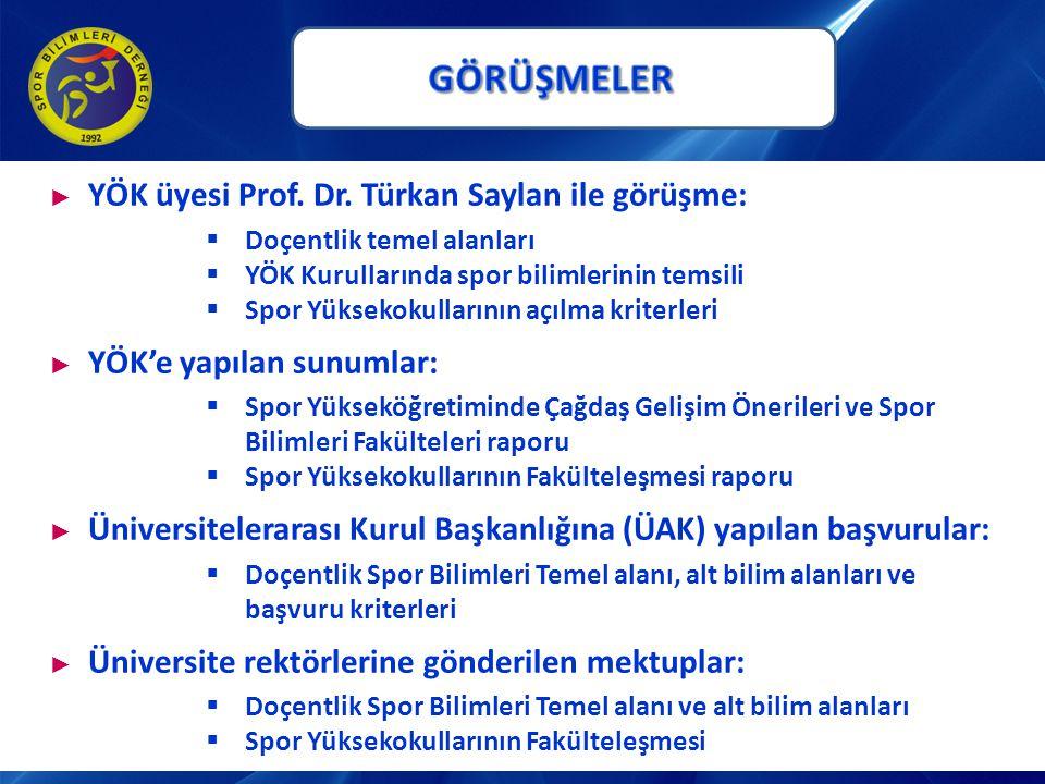 GÖRÜŞMELER YÖK üyesi Prof. Dr. Türkan Saylan ile görüşme: