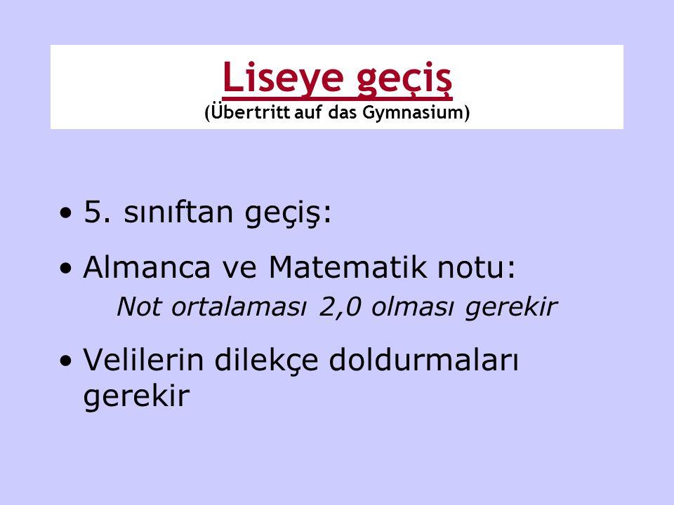 Liseye geçiş (Übertritt auf das Gymnasium)