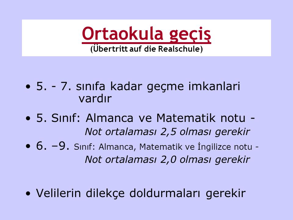 Ortaokula geçiş (Übertritt auf die Realschule)