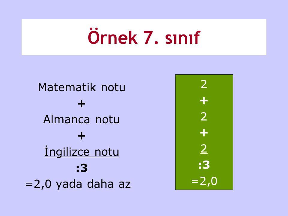 Örnek 7. sınıf Matematik notu 2 + + Almanca notu İngilizce notu :3 :3