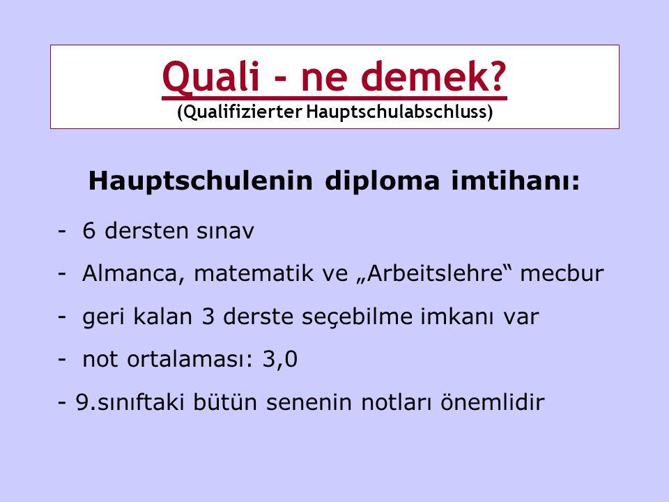 Quali - ne demek (Qualifizierter Hauptschulabschluss)