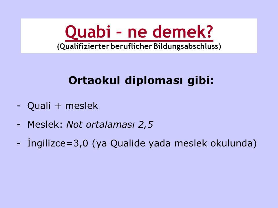 Quabi – ne demek (Qualifizierter beruflicher Bildungsabschluss)