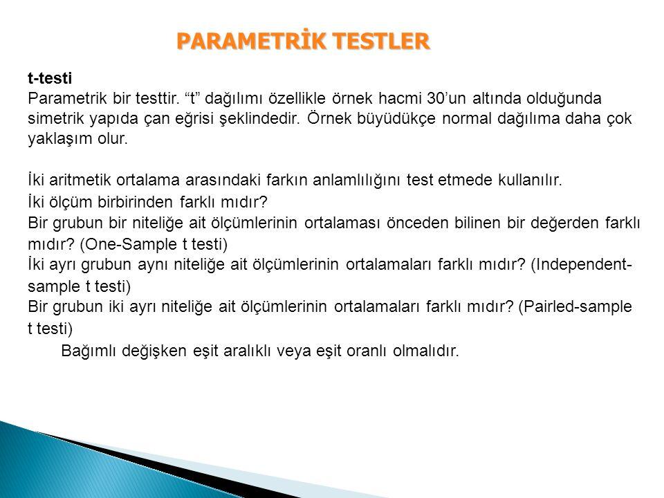 PARAMETRİK TESTLER t-testi