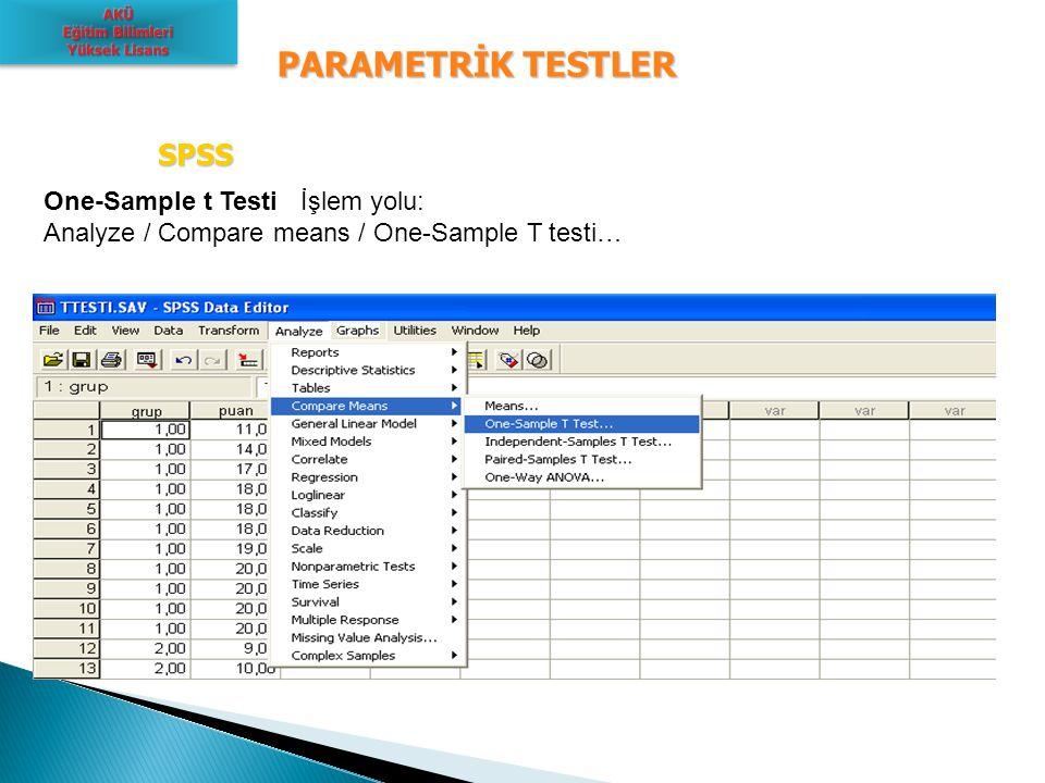 PARAMETRİK TESTLER SPSS One-Sample t Testi İşlem yolu: