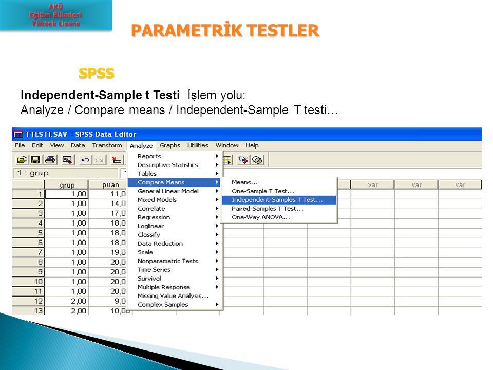 PARAMETRİK TESTLER SPSS Independent-Sample t Testi İşlem yolu: