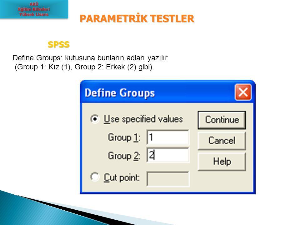 PARAMETRİK TESTLER SPSS