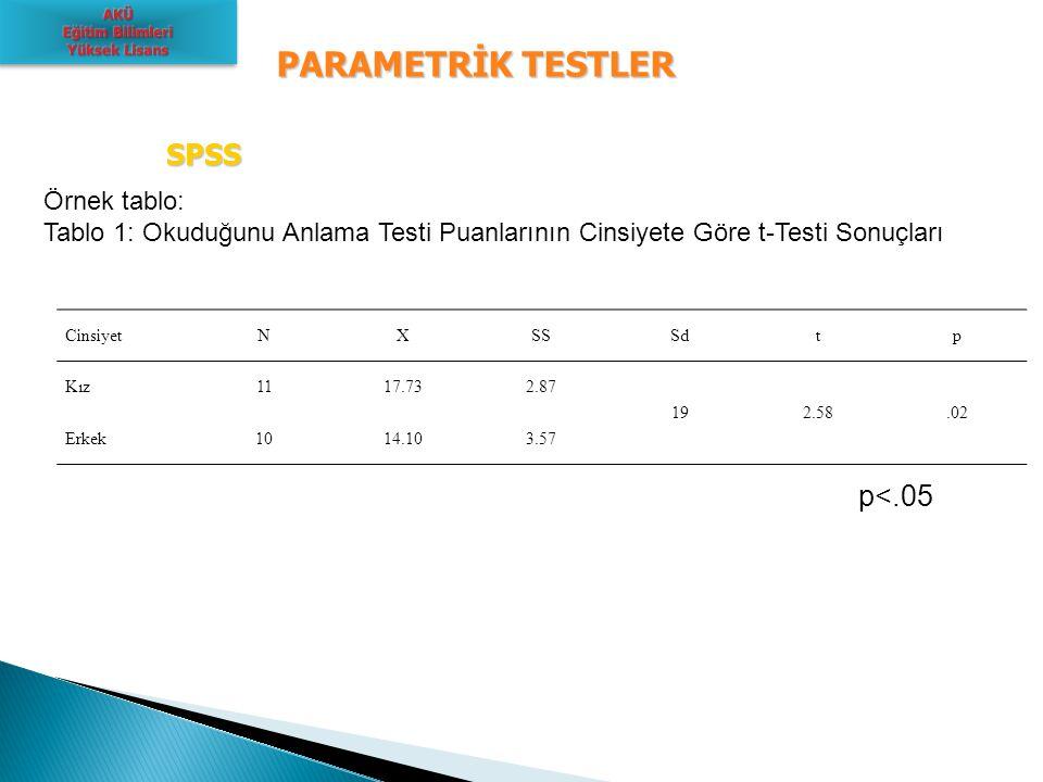 PARAMETRİK TESTLER SPSS p<.05 Örnek tablo: