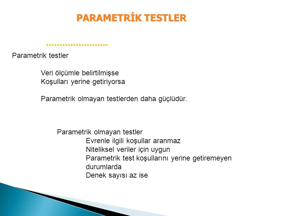 PARAMETRİK TESTLER ………………….. Parametrik testler