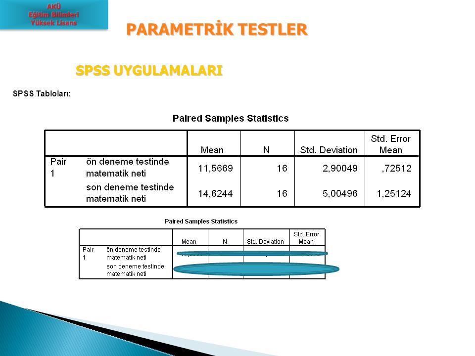 PARAMETRİK TESTLER SPSS UYGULAMALARI SPSS Tabloları: AKÜ