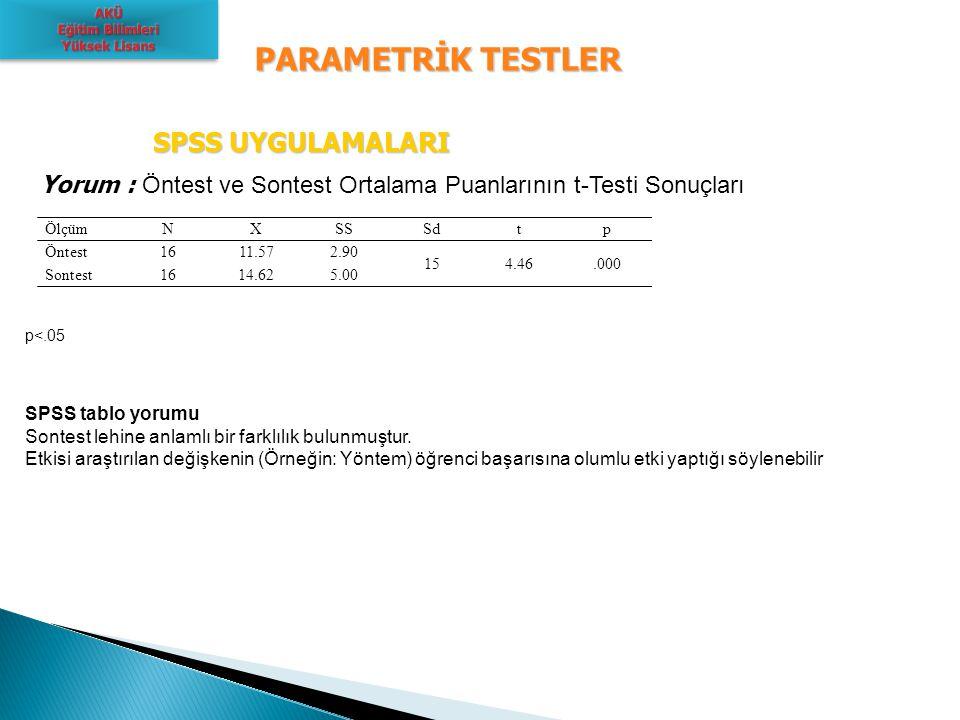 PARAMETRİK TESTLER SPSS UYGULAMALARI