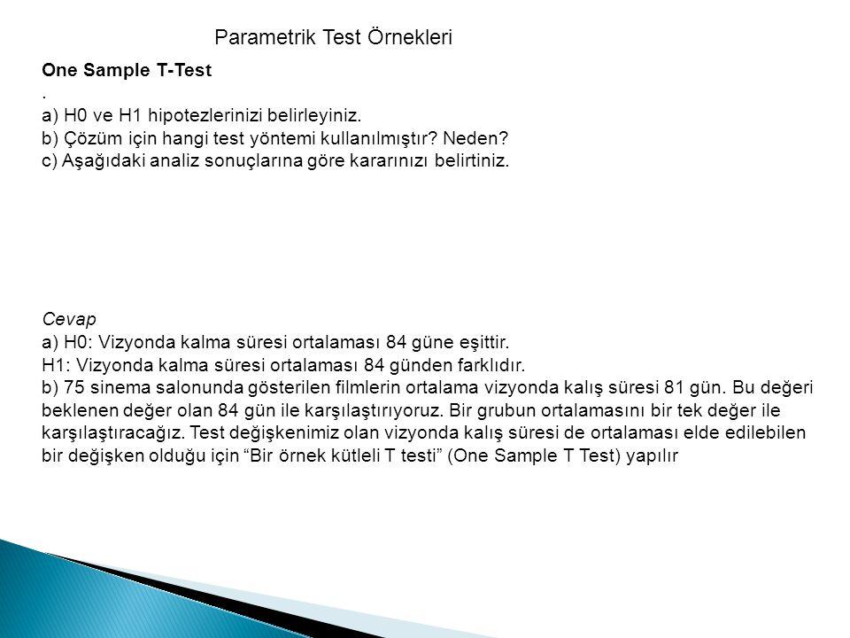 Parametrik Test Örnekleri
