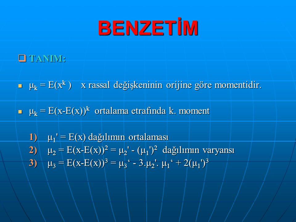 BENZETİM TANIM: μk = E(xk ) x rassal değişkeninin orijine göre momentidir. μk = E(x-E(x))k ortalama etrafında k. moment.