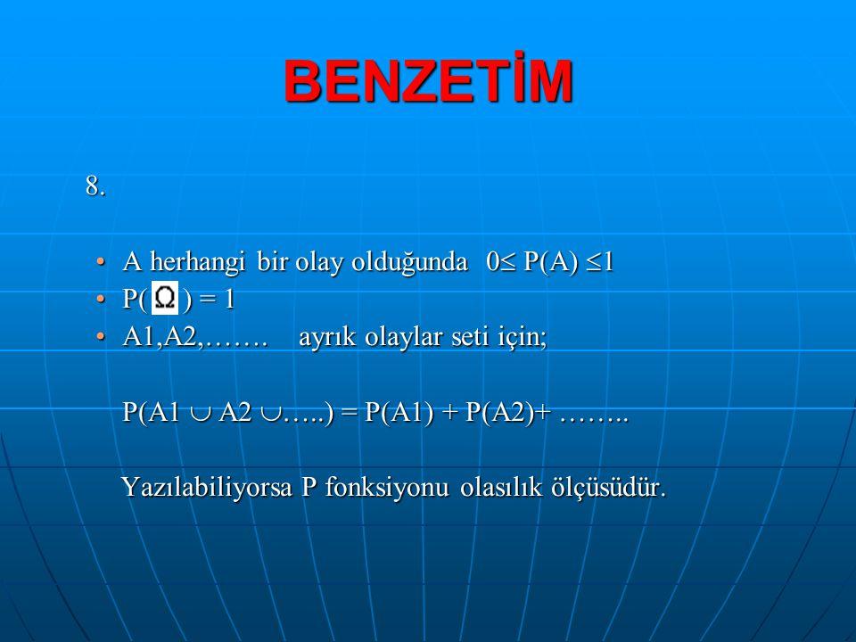 BENZETİM 8. A herhangi bir olay olduğunda 0 P(A) 1 P( ) = 1