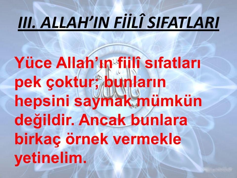 III. ALLAH'IN FİİLÎ SIFATLARI