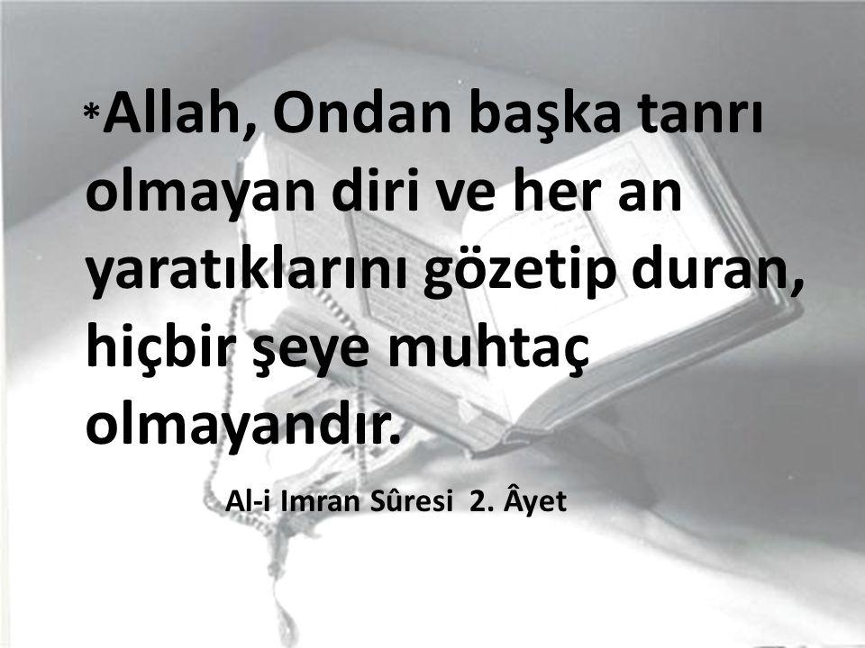 *Allah, Ondan başka tanrı olmayan diri ve her an yaratıklarını gözetip duran, hiçbir şeye muhtaç olmayandır.