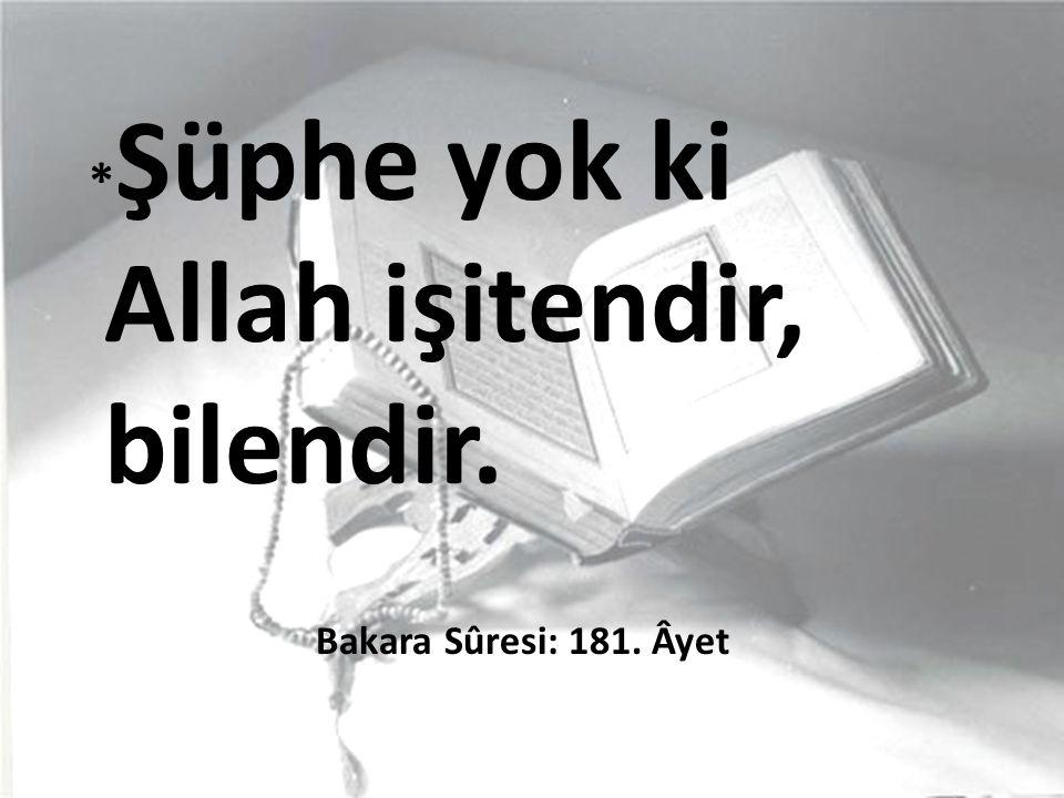 *Şüphe yok ki Allah işitendir, bilendir. Bakara Sûresi: 181. Âyet