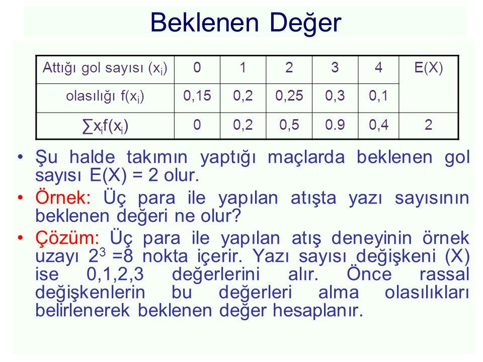 Beklenen Değer Şu halde takımın yaptığı maçlarda beklenen gol sayısı E(X) = 2 olur.