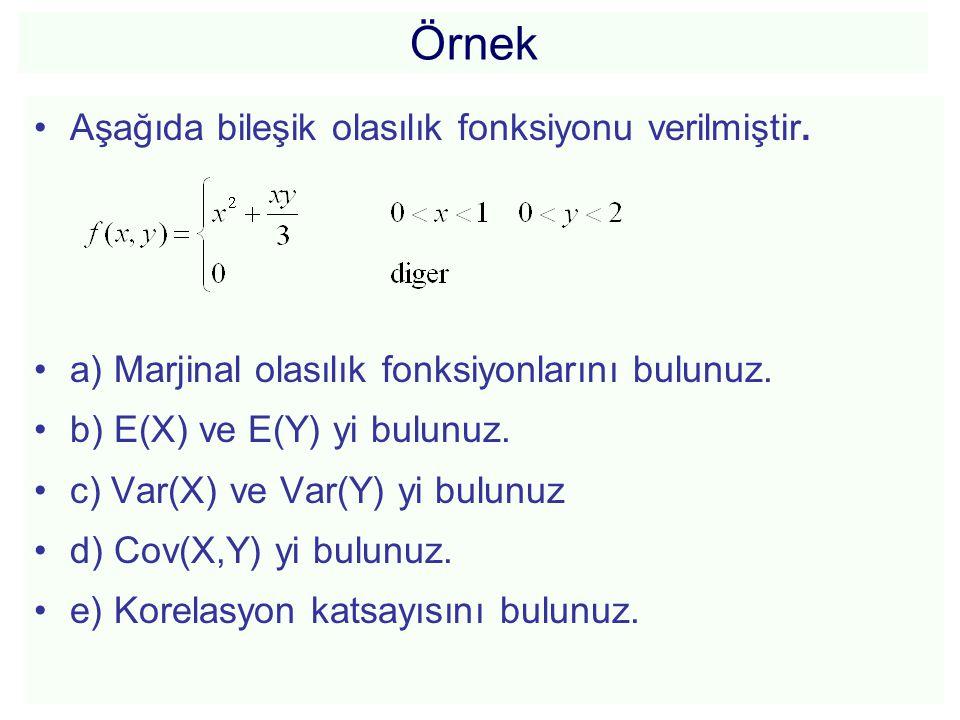 Örnek Aşağıda bileşik olasılık fonksiyonu verilmiştir.