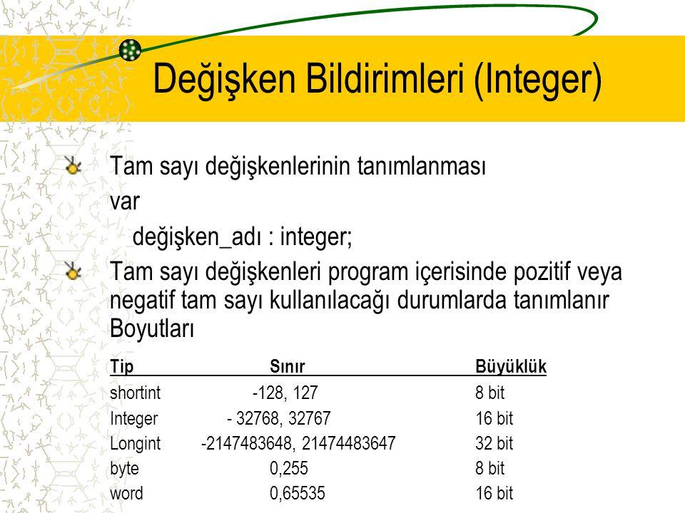 Değişken Bildirimleri (Integer)