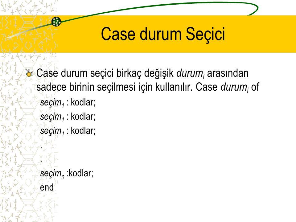 Case durum Seçici Case durum seçici birkaç değişik durumi arasından sadece birinin seçilmesi için kullanılır. Case durumi of.