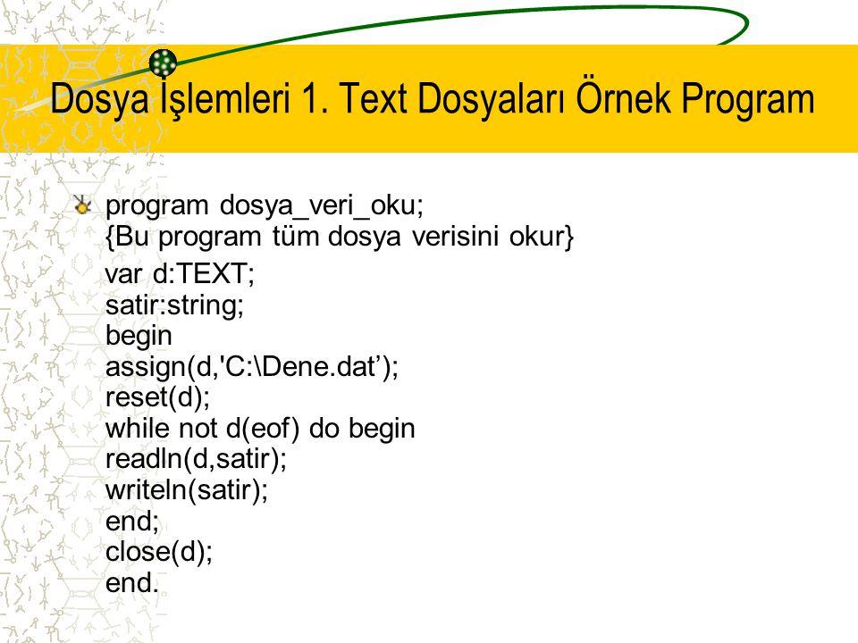 Dosya İşlemleri 1. Text Dosyaları Örnek Program