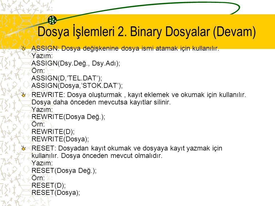 Dosya İşlemleri 2. Binary Dosyalar (Devam)