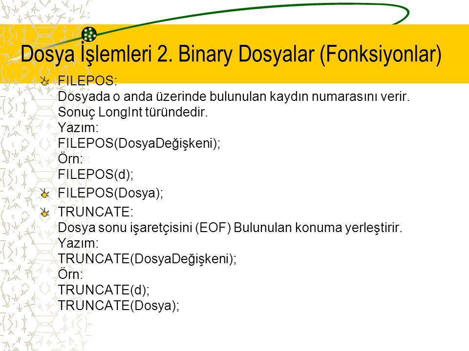 Dosya İşlemleri 2. Binary Dosyalar (Fonksiyonlar)