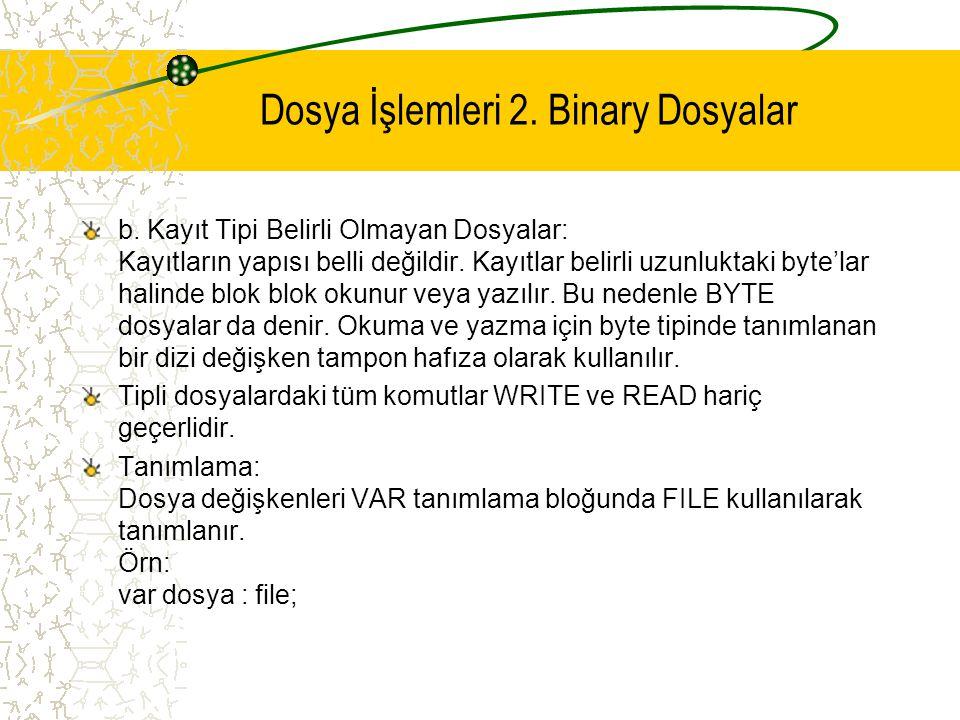 Dosya İşlemleri 2. Binary Dosyalar