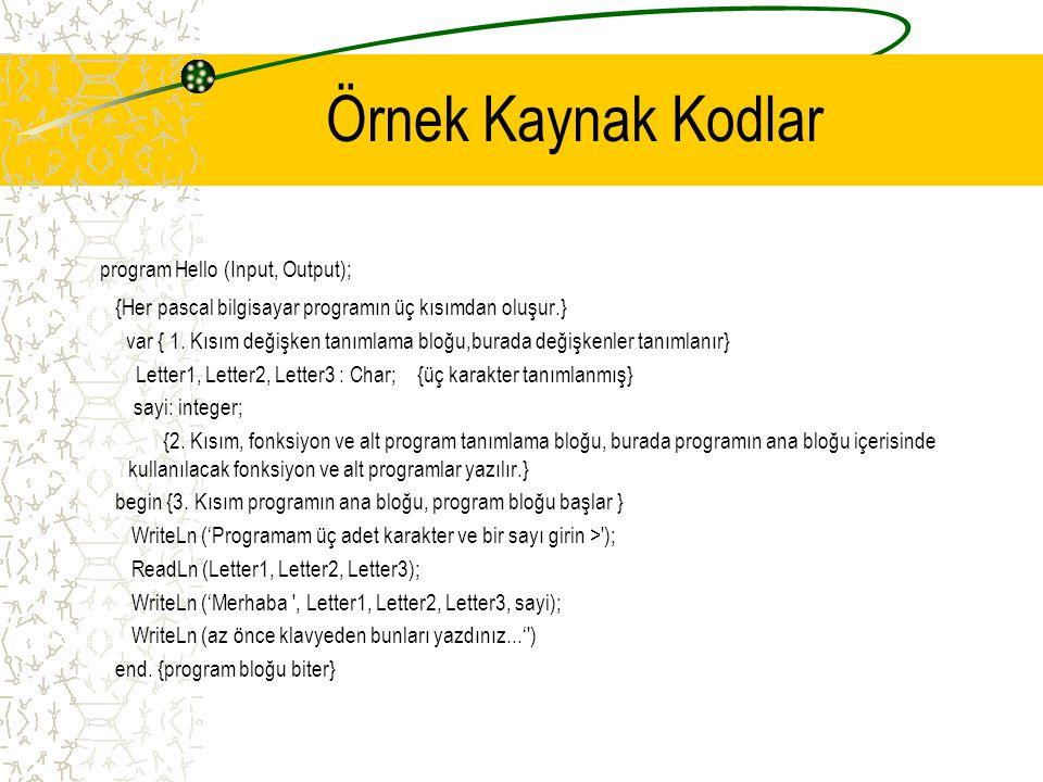 Örnek Kaynak Kodlar program Hello (Input, Output);