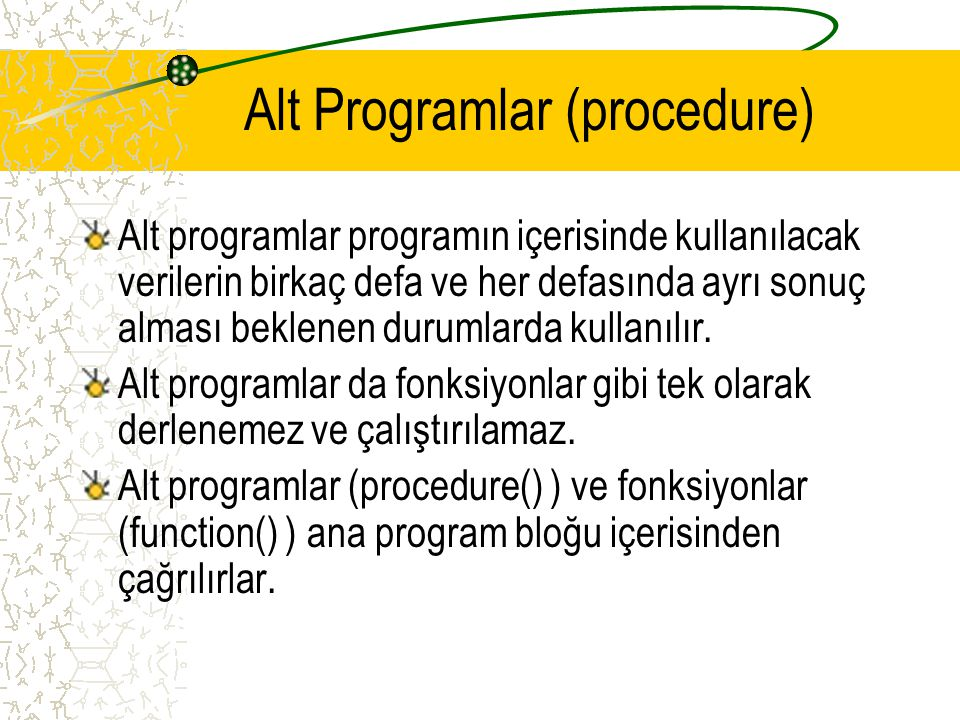 Alt Programlar (procedure)