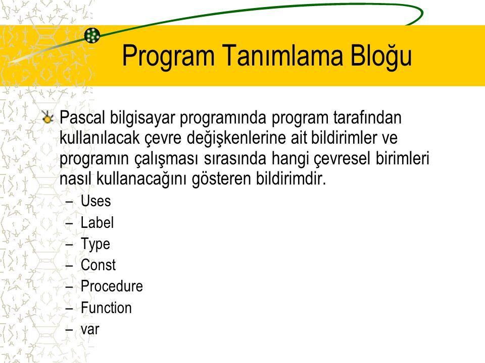 Program Tanımlama Bloğu