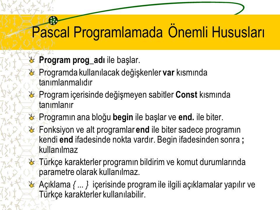 Pascal Programlamada Önemli Hususları