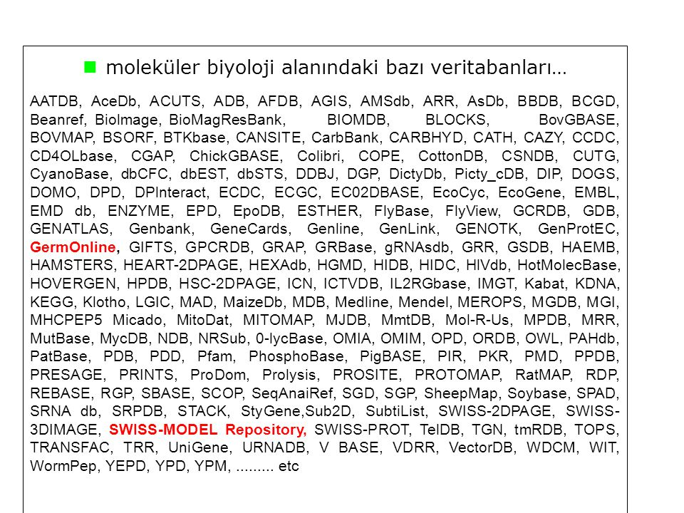 moleküler biyoloji alanındaki bazı veritabanları…