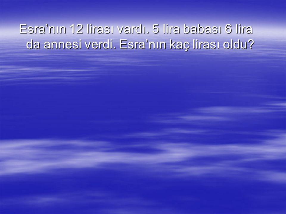 Esra'nın 12 lirası vardı. 5 lira babası 6 lira da annesi verdi