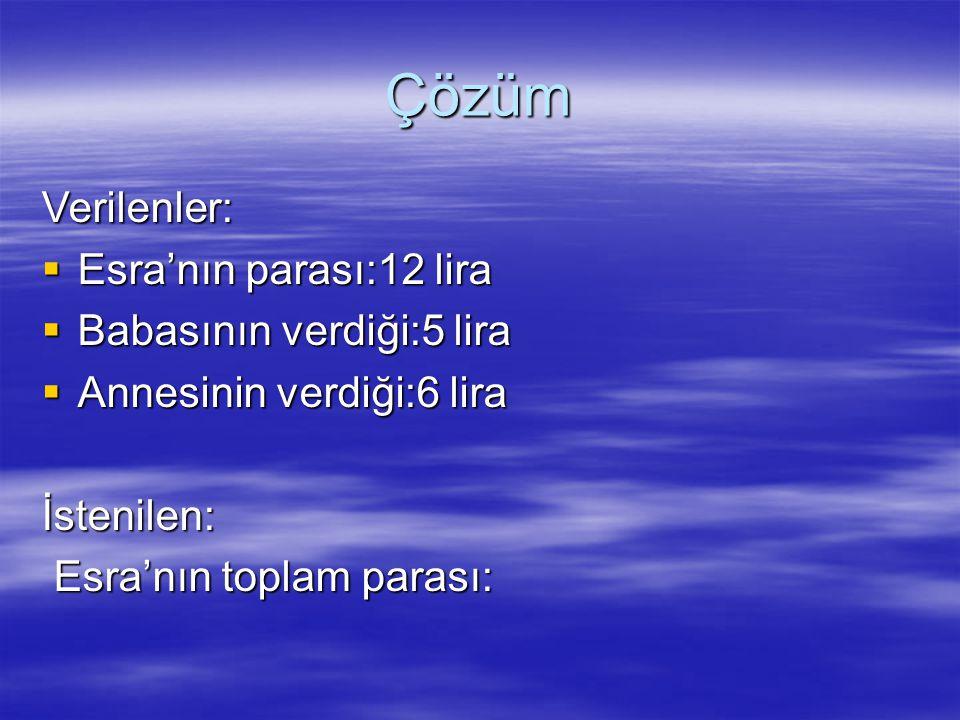 Çözüm Verilenler: Esra'nın parası:12 lira Babasının verdiği:5 lira