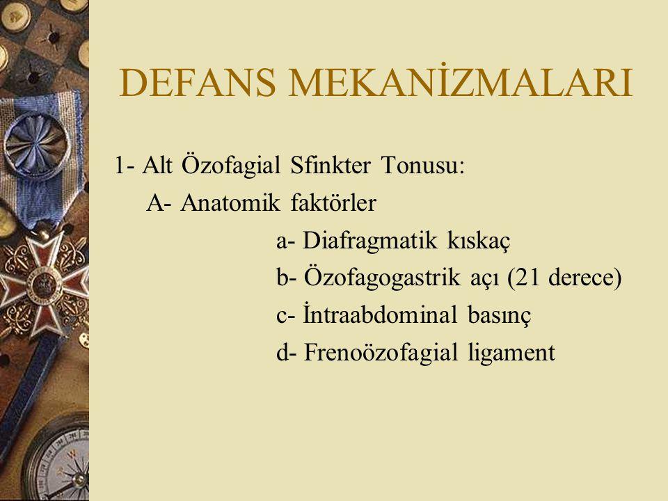 DEFANS MEKANİZMALARI 1- Alt Özofagial Sfinkter Tonusu: