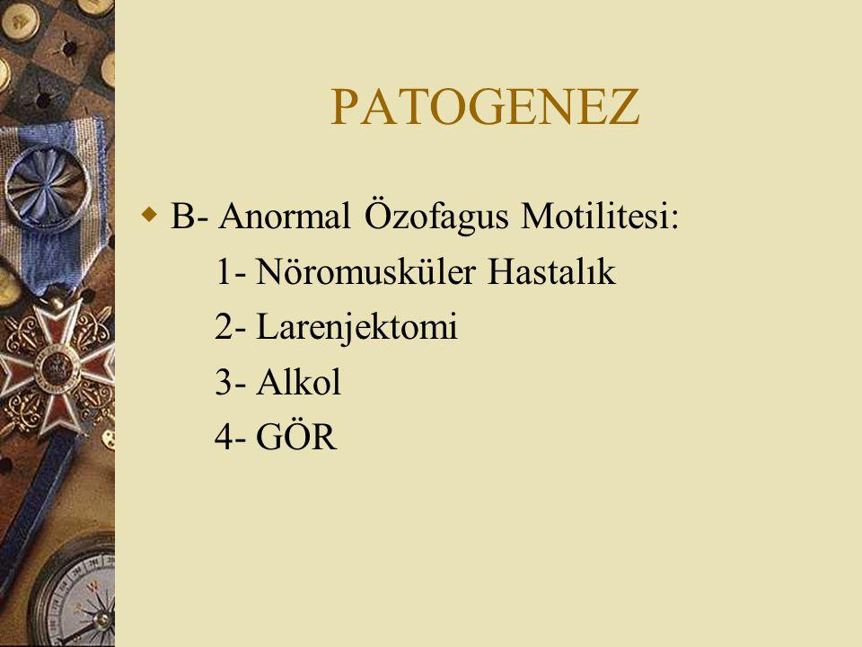 PATOGENEZ B- Anormal Özofagus Motilitesi: 1- Nöromusküler Hastalık