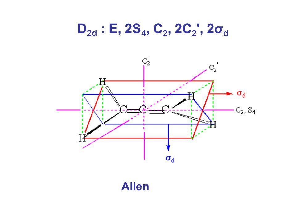 D2d : E, 2S4, C2, 2C2 , 2σd Allen