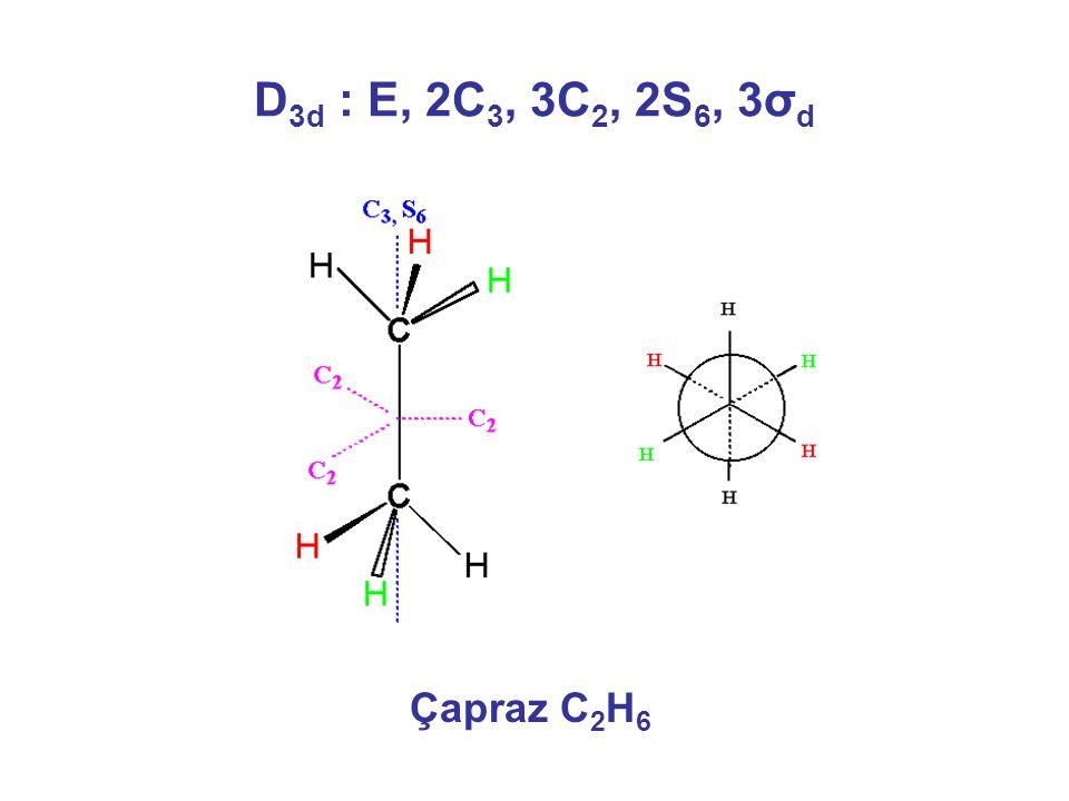 D3d : E, 2C3, 3C2, 2S6, 3σd Çapraz C2H6