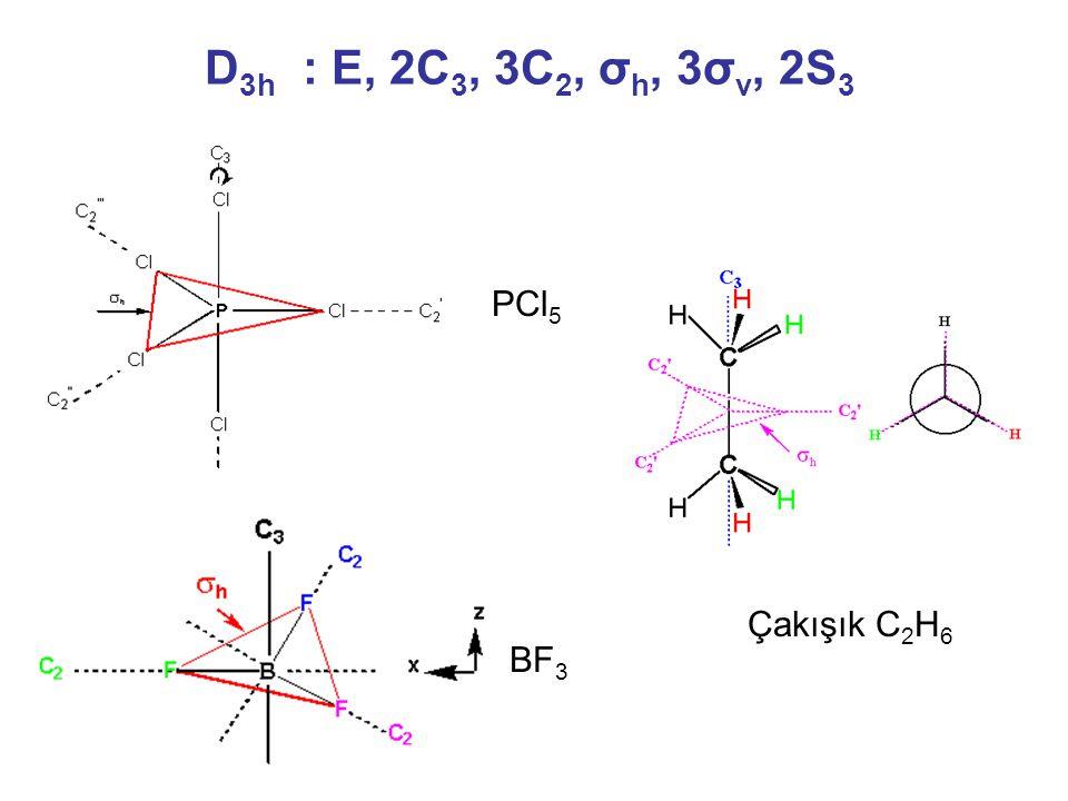 D3h : E, 2C3, 3C2, σh, 3σv, 2S3 PCl5 Çakışık C2H6 BF3