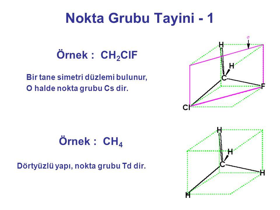 Nokta Grubu Tayini - 1 Örnek : CH2ClF Örnek : CH4