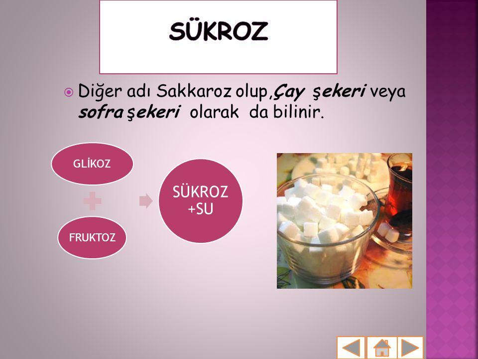 SÜKROZ Diğer adı Sakkaroz olup,Çay şekeri veya sofra şekeri olarak da bilinir. GLİKOZ. FRUKTOZ.