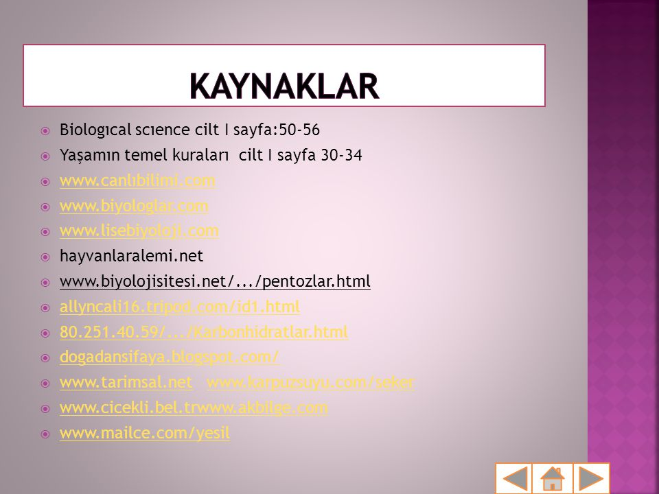 KAYNAKLAR Biologıcal scıence cilt I sayfa:50-56