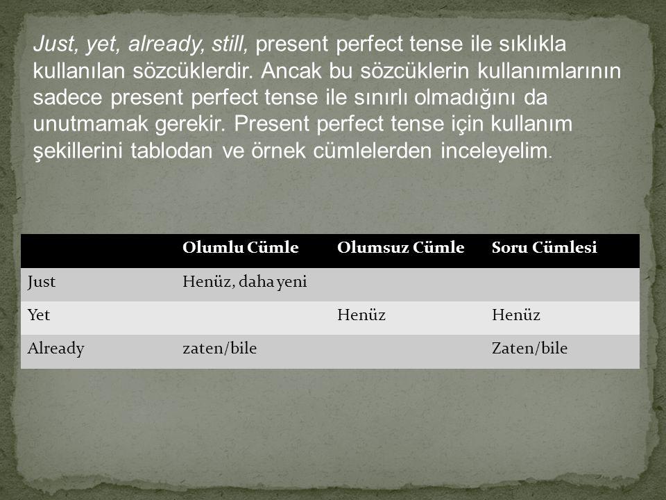 Just, yet, already, still, present perfect tense ile sıklıkla kullanılan sözcüklerdir. Ancak bu sözcüklerin kullanımlarının sadece present perfect tense ile sınırlı olmadığını da unutmamak gerekir. Present perfect tense için kullanım şekillerini tablodan ve örnek cümlelerden inceleyelim.
