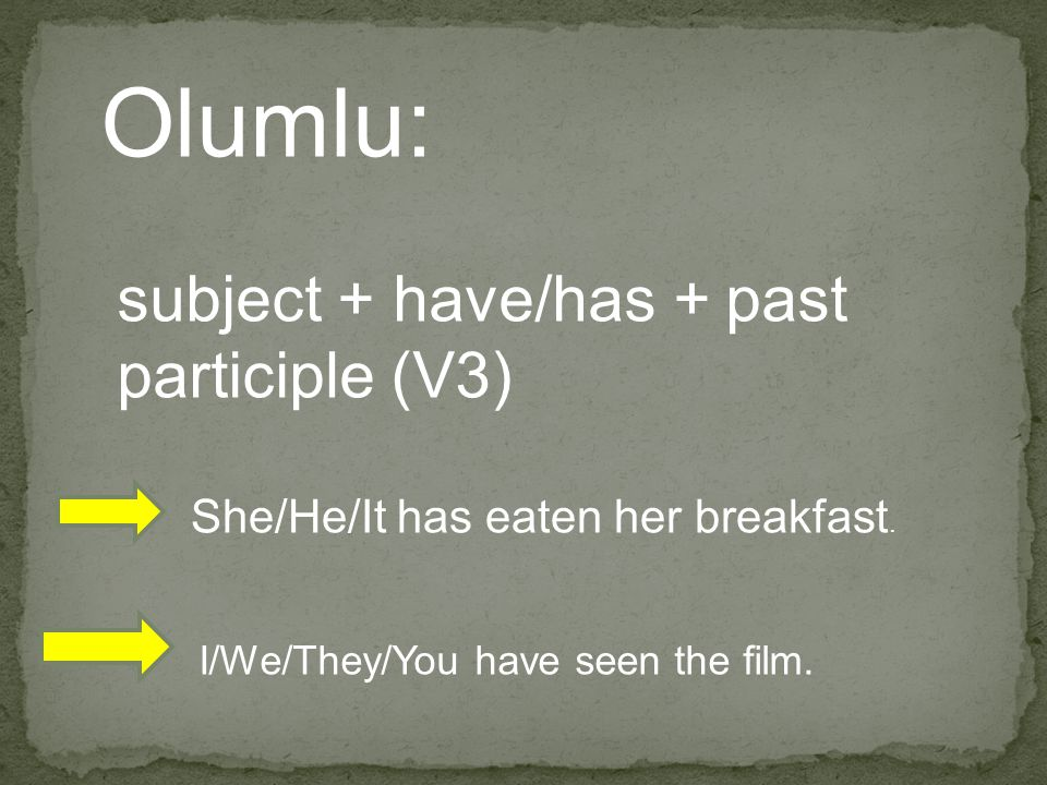 Olumlu: subject + have/has + past participle (V3)