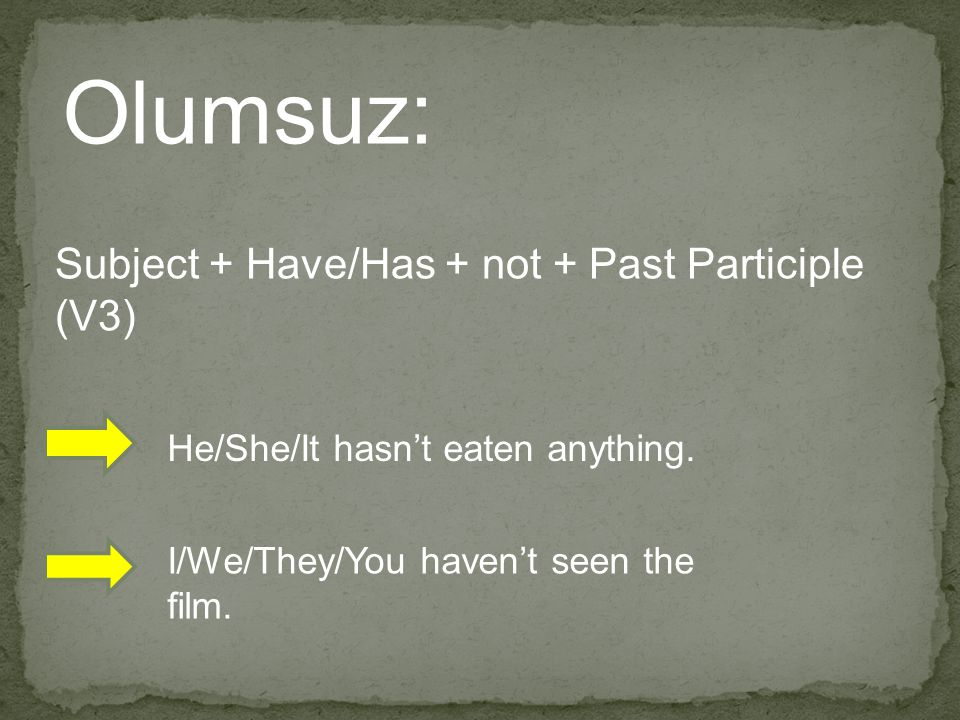 Olumsuz: Subject + Have/Has + not + Past Participle (V3)