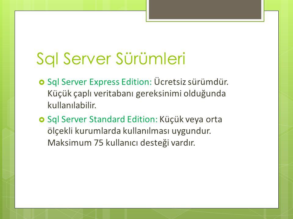 Sql Server Sürümleri Sql Server Express Edition: Ücretsiz sürümdür. Küçük çaplı veritabanı gereksinimi olduğunda kullanılabilir.